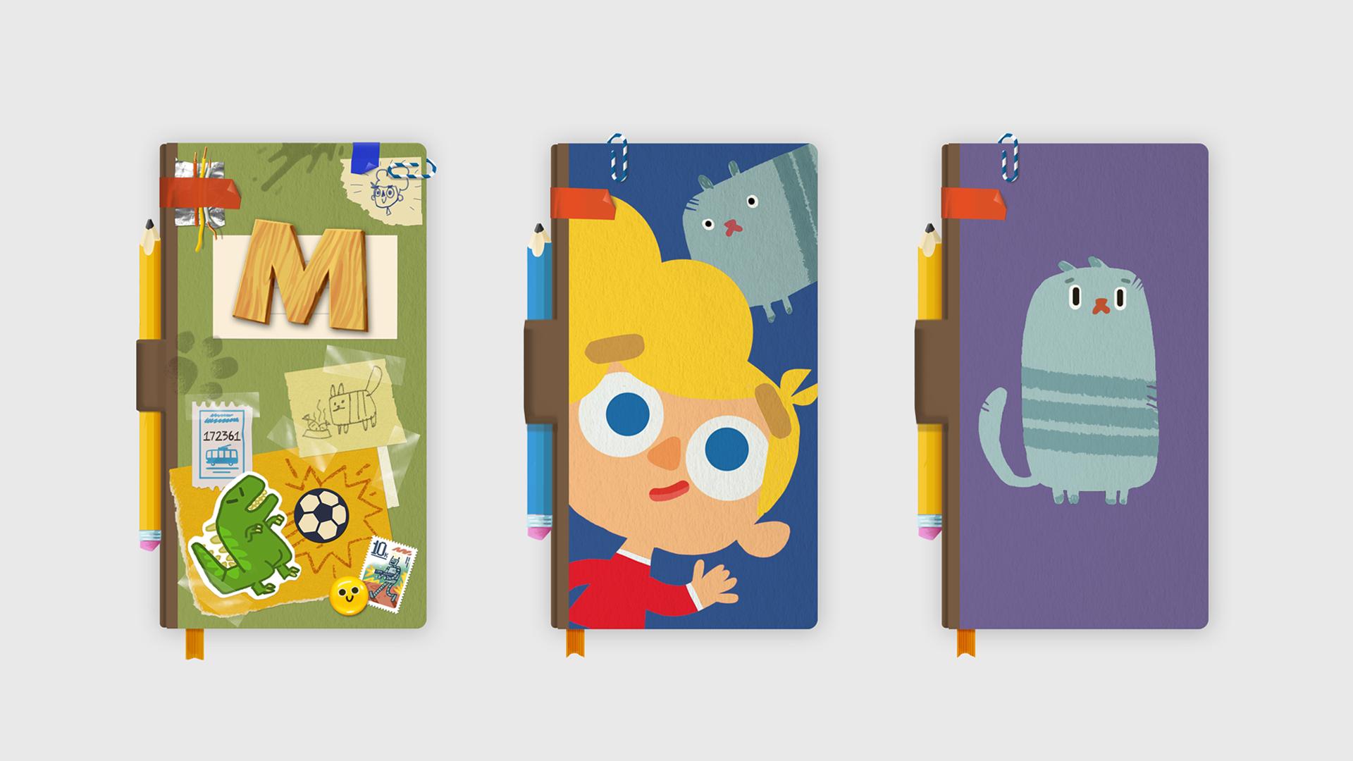 Варианты дизайна блокнота, внутри которого происходят приключения Кошки бяки иХорошего мальчика